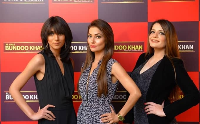 "Models Fatima, Natty and Nimra at the launch of ""Al Haaj Bundoo Khan Restaurant in Islamabad"