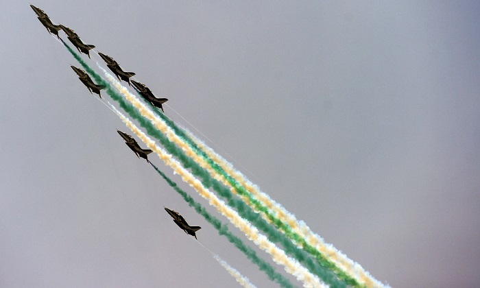 Amazing aerobics performance during the celebratory airshow in Islamabad. — AFP