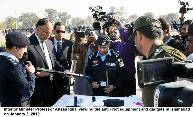 Minister Ahsan Iqbal attended ceremony where newly established Anti-Riot Unit of Islamabad Police demonstrated their skills in different formations in Islamabad
