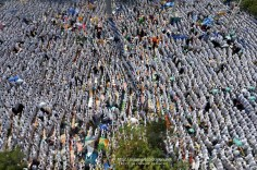 Muslim hajj pilgrims perform the noon prayers at the Nemra mosque near Mount Arafat. Nov. 5, 2011. (Fayez Nureldine - AFP/Getty Images)