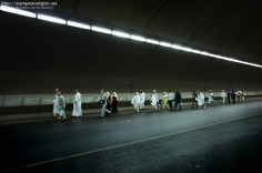 Muslim pilgrims walk inside a tunnel following the evening prayer in the Saudi holy city of Mecca. Nov. 12, 2010. (Mustafa Ozer - AFP/Getty Images)