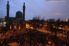 Russian Muslims pray outside St. Petersburg's mosque during the first day of the Eid al-Adha (Kurban Bairam) on November 6, 2011