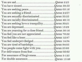 Are You sad? Caring Verses from Quran for 17 Personal Problems