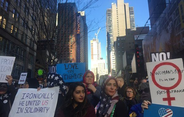 In Times Square, Protesters Take to The Streets To Say 'I Am Muslim Too'