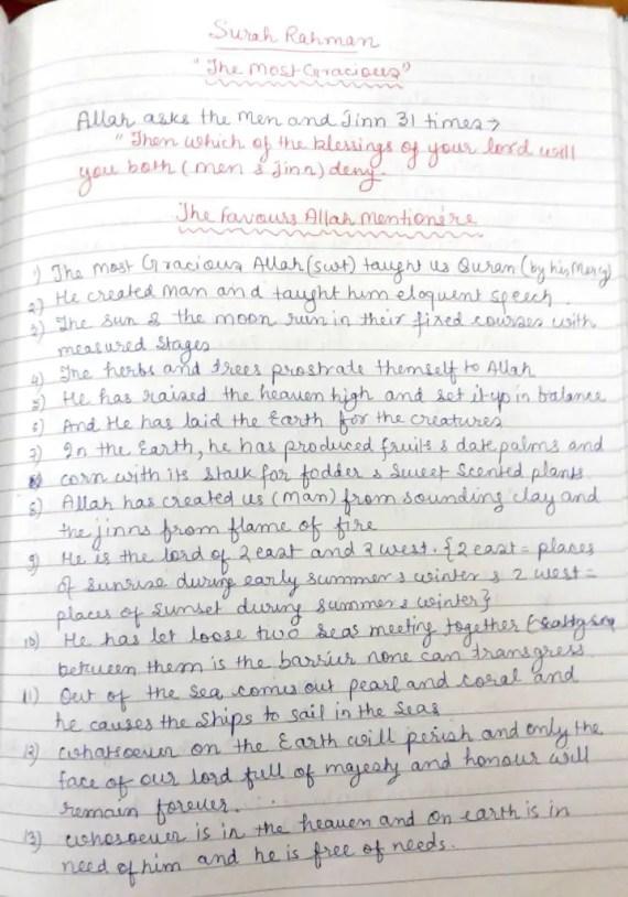Surah Rahman Notes-favour of Allah