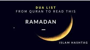 Dua list Ramadan