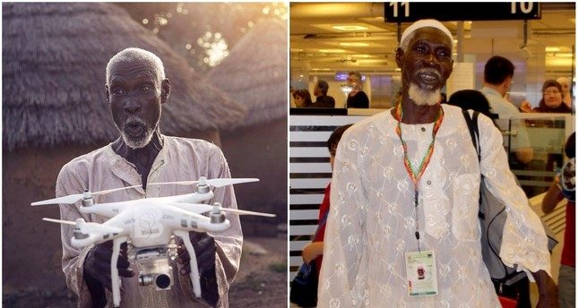Ghanian Poor man spotted a drone and wished he could go to Hajj . Turkey sponsored his Hajj