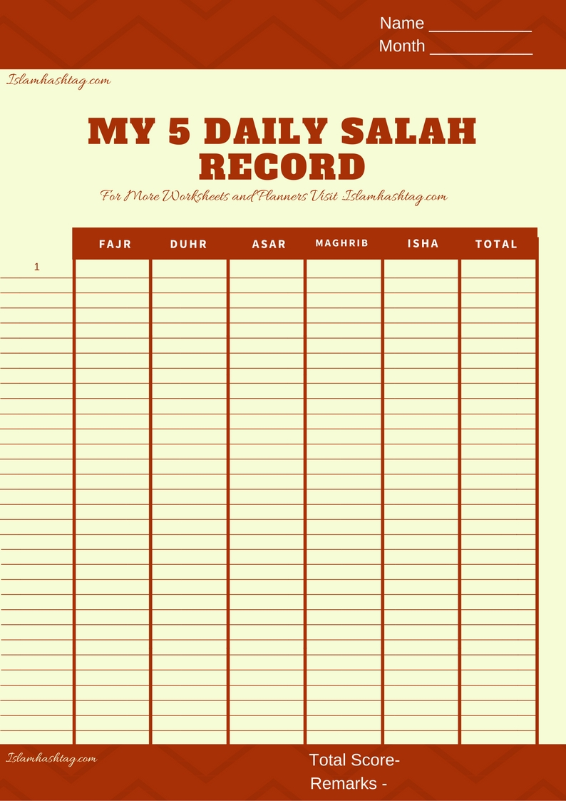 image regarding Printable Monthly Prayer Calendar called Salah Tracker Calender- Absolutely free Printable - Islam Hashtag