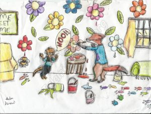 Illustration of Fox Painting All Over - Huda Kazmi, Age 11