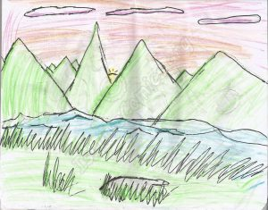 Landscape illustration by Wardah Kazmi, Age 6