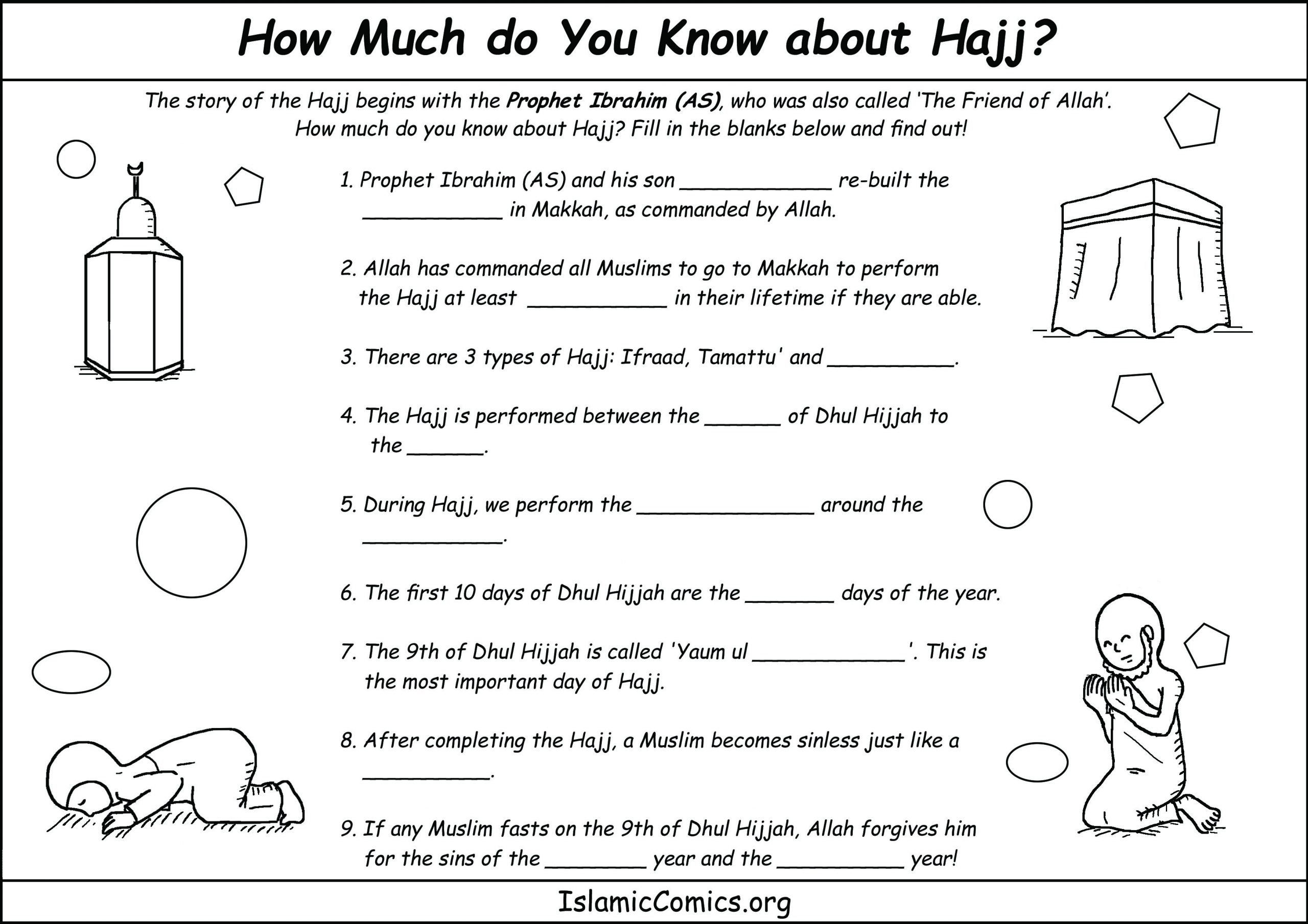 Hajj And Umrah Coloring Pages And Activity Sheets