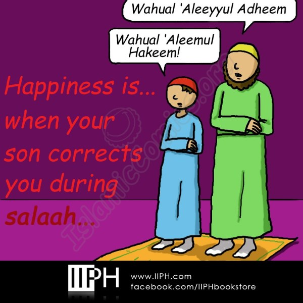 Happiness is... When Your Son Corrects you in Salah - Islamic Illustrations (Islamic Comics)