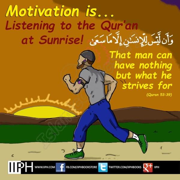 Motivation is Listening to Quran at Sunrise - Islamic Illustrations (Islamic Comics)