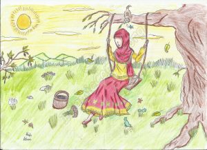 Muslim Girl on a Swing - by Huda, Age 12