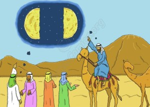 The Arabs questioning travelers to ask them if they saw the moon splitting