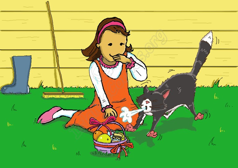 Zainab sits down to pat Oliver the Cat. He sneezes when he sniffs the Ramadan Basket