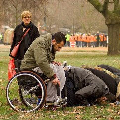 Wheelchair Man Over Chair Tables Uk In Praying Park Islamic Sunrays Com