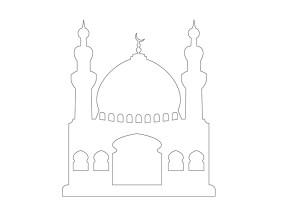 Masjid / Moschee zum ausmalen für Kinder 2   Islam im Herzen