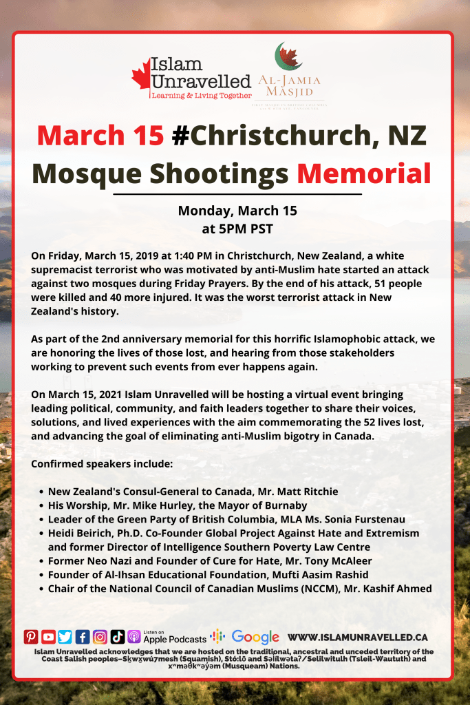 Christchurch, NZ Mosque Shooting Memorial and Forum on Right-Wing Extremism