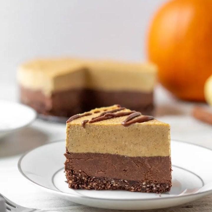 Vegan No-Bake Chocolate Pumpkin Cheesecake
