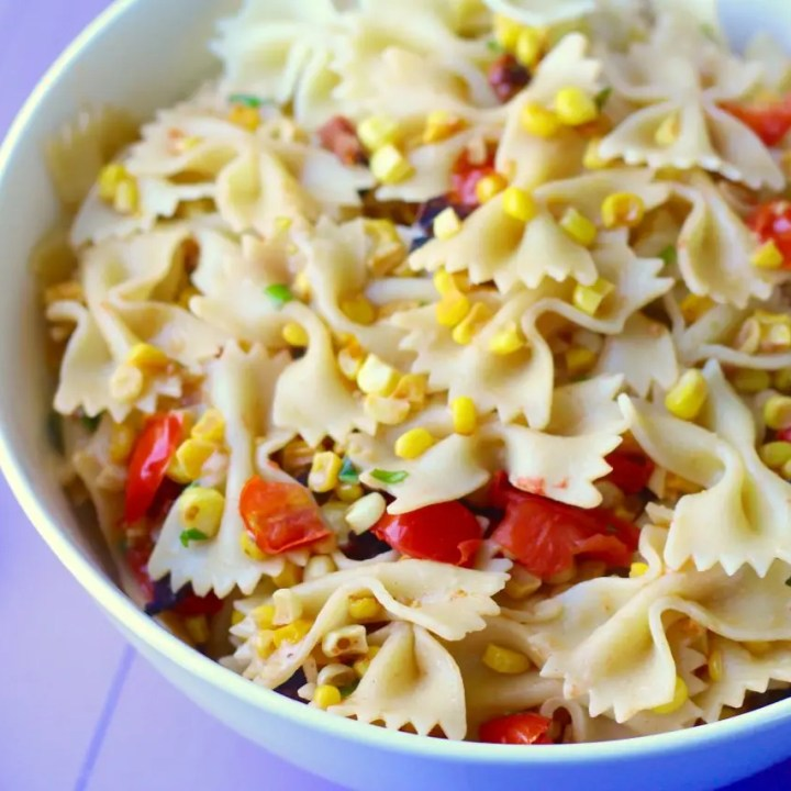 Farfalle with Bacon, Toasted Corn, and Tomatoes