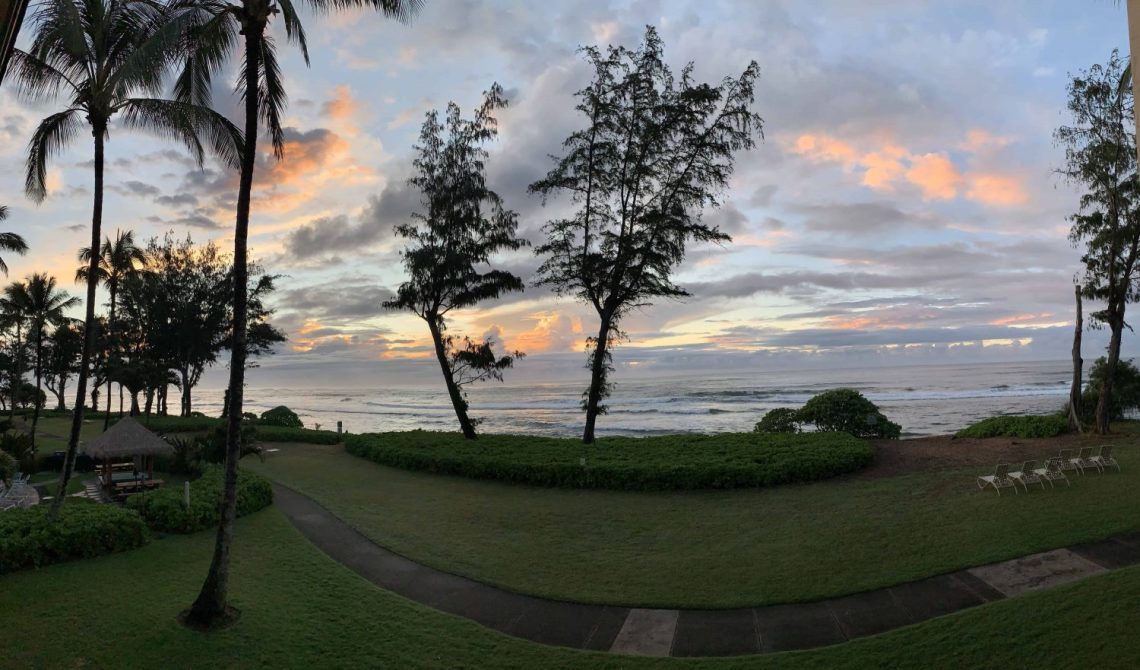 Panoramic sunrise shot from our lanai!