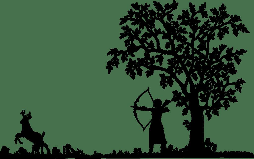 Illustration: Hunter shooting deer silhouette