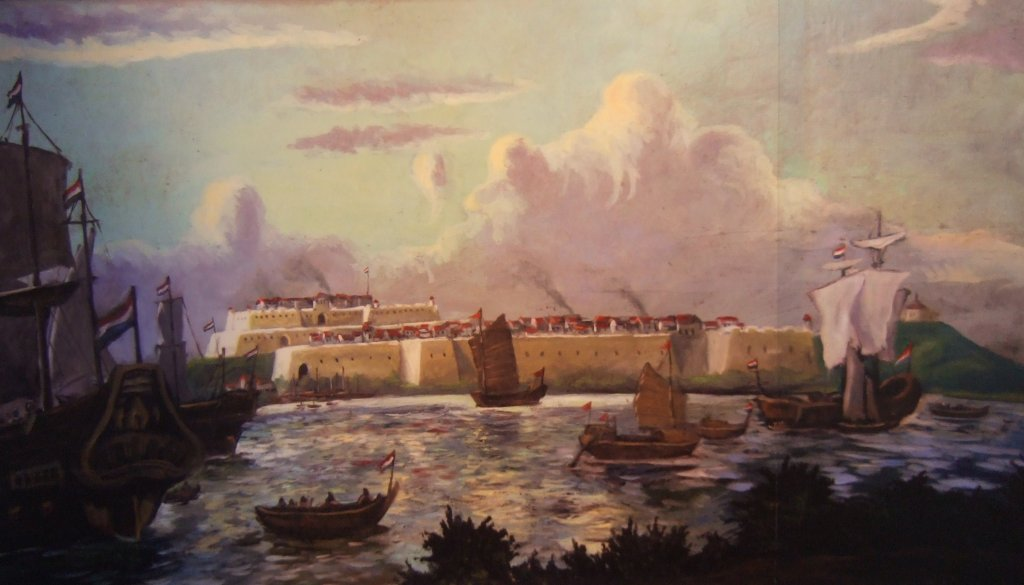 Mural of southwestern Taiwan's Fort Zeelandia during Dutch times