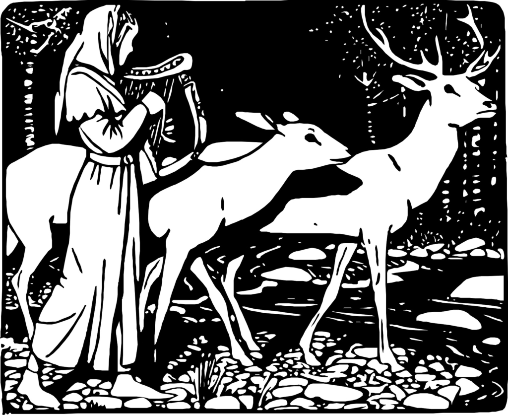 Print: Harp player with white stag and doe on black background