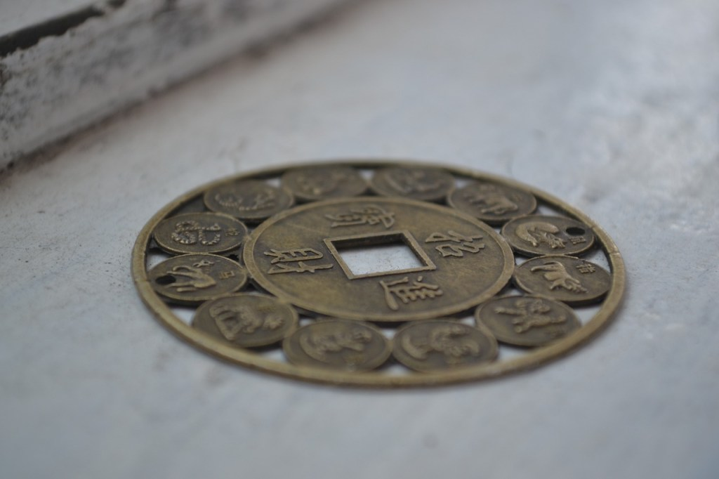 Photo: Chinese coin with zodiac engravings