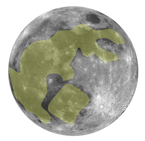 Photo: Full moon with moon rabbit outlined