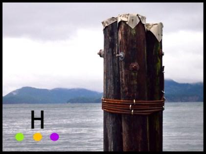 dock at hope bay, pender island, bc, canada