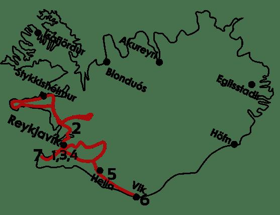 Mapa Fin de año en Islandia