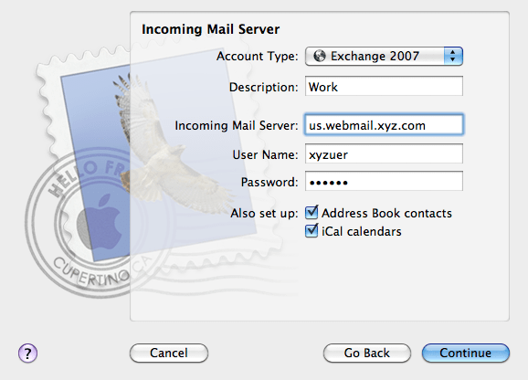 Using Mail, Address Book and iCal with Exchange 2007 and Active Directory workScreen shot 2010 03 20 at 6.38.12 PM1