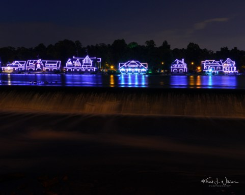 The lights are turned on at the historic Boathouse Row located in Philadelphia, on the east bank of the Schuylkill River, just north of the Fairmount Water Works and the Philadelphia Museum of Art.