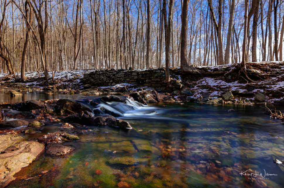 Rock Brook, brook, water, snow, ice, trees, winter, rocks