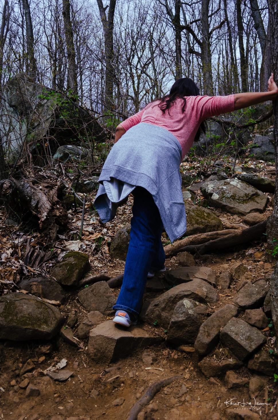 rocks, sourland mountain, boulder, woman