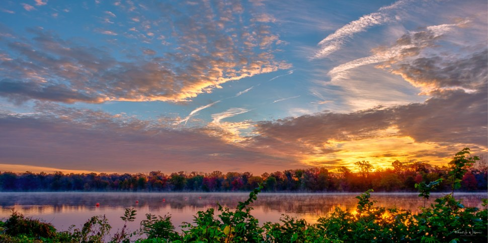 Sunrise, Lake, Clouds, Orange, Red, Yellow