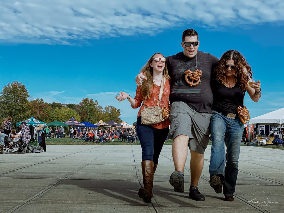 Woman, Man, Woman, Walking, Smiling, Friends, Beer Fest
