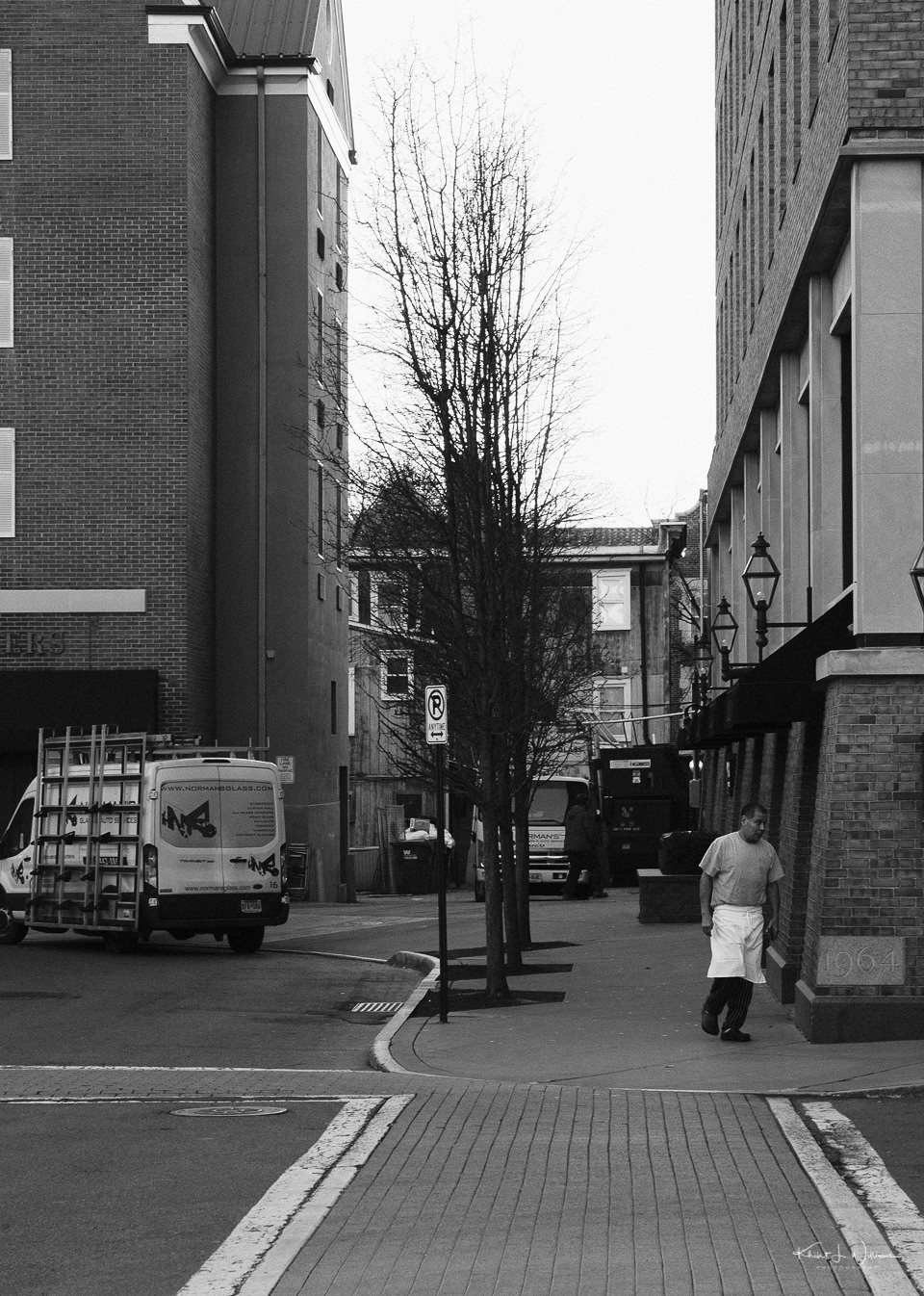 Man, Truck, Street, Buildings