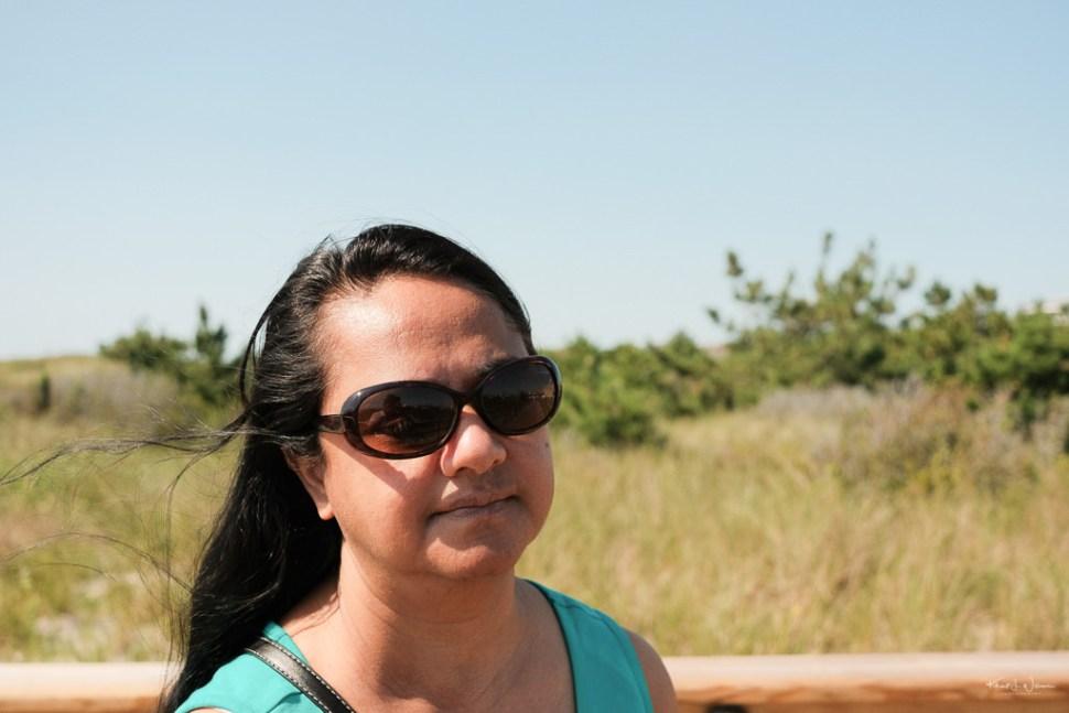 Bhavna, window blowing in hair, Beach Scene