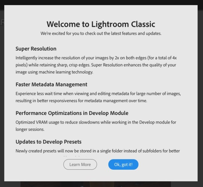 Screen shot of Welcome to Lightroom Classic