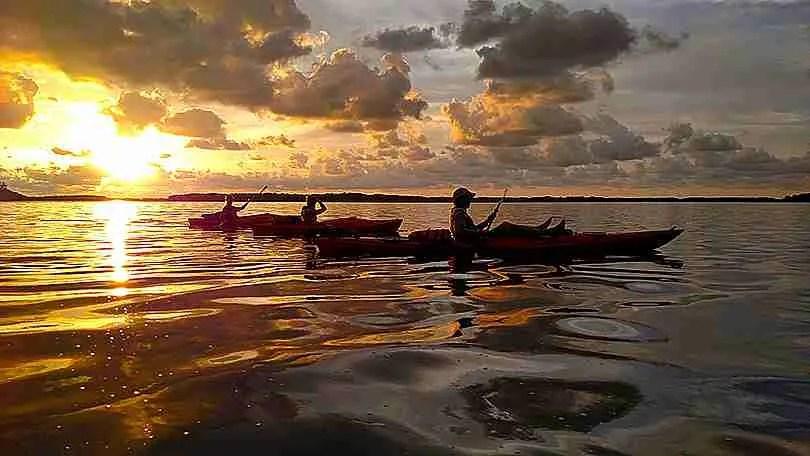 Island Kayak Tours sunset tour trio