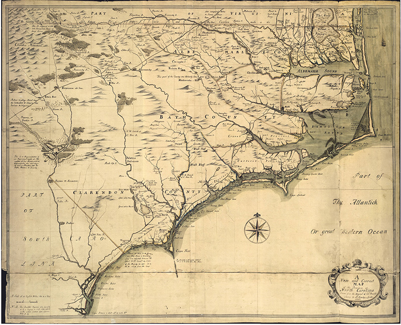 1737 map of North Carolina