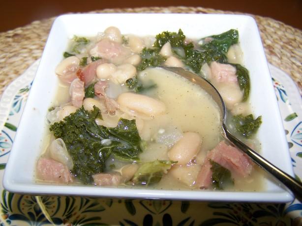 Recipe for Ham, Kale & White Bean Soup