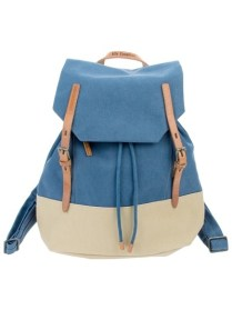 blue leather cream backpack