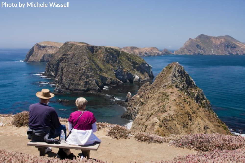 Relaxing on the bench at Inspiration Point on Anacapa Island
