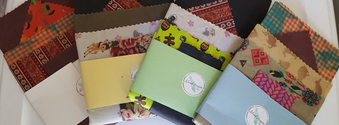 Variety of Beeswax wraps made on Hornby Island and Vancouver Island by Island Reveries