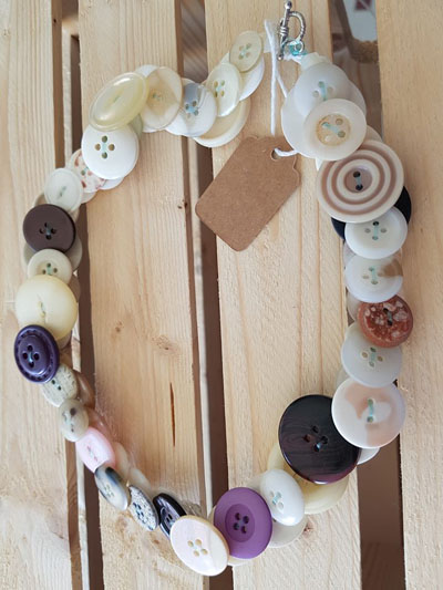 Button jewelry, made by Island Reveries