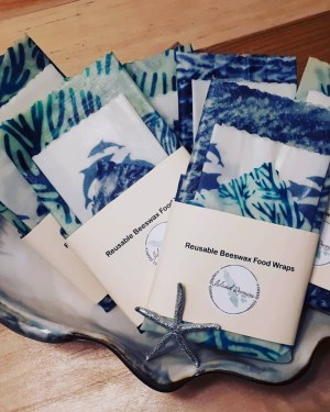 Custom logo branded Hornby Island and Vancouver Island made best beeswax wraps by Island Reveries